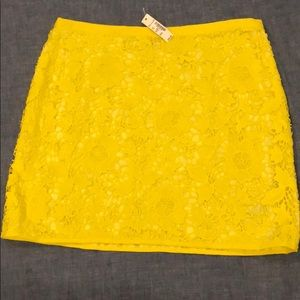 Madewell yellow lace skirt
